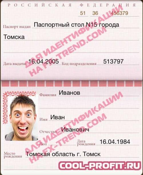 паспорт для идентификации на fx-trend.com для cool-profit.ru