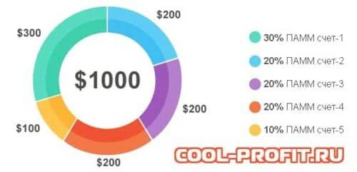 распределение инвестированной суммы по счетам индекса cool-profit.ru