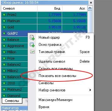 показать все символы в Meta Trader для сool-profit.ru