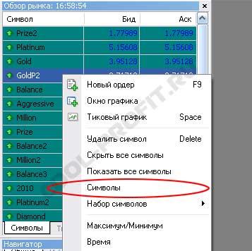 пункт меню символы в Meta Trader для cool-profit.ru