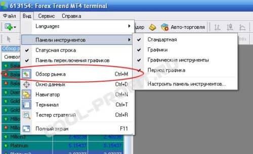 вызов окна обзор рынка из меню Meta Trader для cool-profit.ru