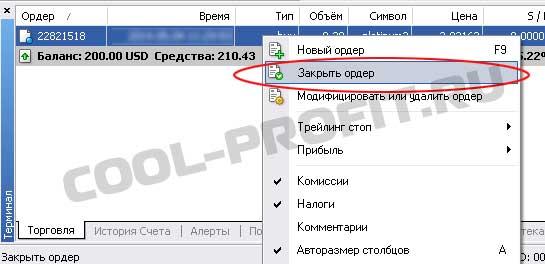 закрытие ордера в Meta Trader для cool-profit.ru
