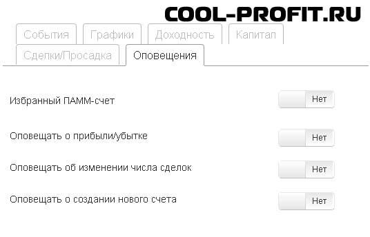 оповещения - детальная информация по памм-счету investflow для cool-profit.ru