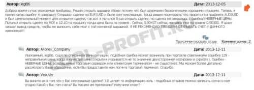 отзывы 4 о компании Aforex для cool-profit.ru