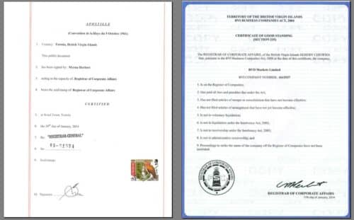 Документы брокера RVD Markets. Сертификат и апостиль RVD Markets Limited. Для cool-profit.ru