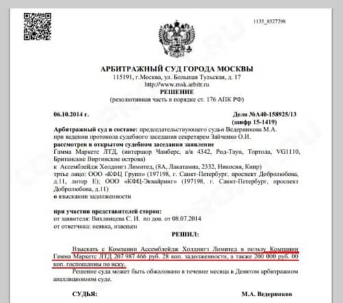 решение суда о взыскании денежных средств с ассемблейдж холдингс лимитед в пользу гамма маркетс лтд (для cool-profit.ru)