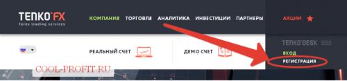 Регистрация в TenkoFx (для cool-profit.ru)
