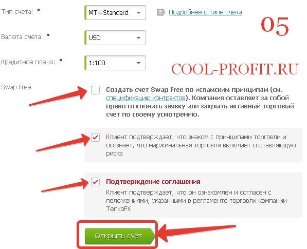 Открыть торговый счет STANDART у брокера TenkoFx. Шаг 5 (для cool-profit.ru)