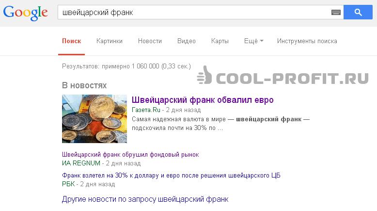 ТОП новостей google по запросу швейцарский франк (для cool-profit.ru)