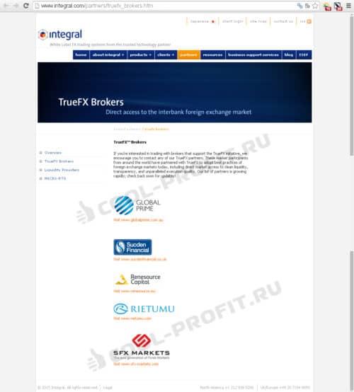 Список партнеров Интеграла (для cool-profit.ru)
