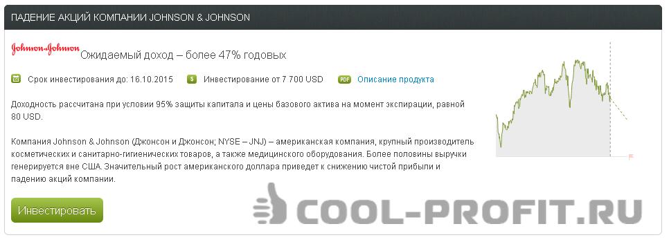 Структурированный продукт Альпари - падение акций JOHNSON & JOHNSON (для cool-profit.ru)