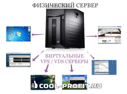 Физический сервер и виртуальные серверы (для cool-profit.ru)