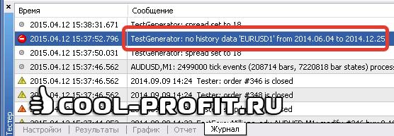 Ошибка в тестере стратегий TestGenerator no history data (для cool-profit.ru)