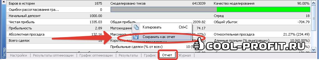 Сохранение отчета по тестированию с вкладки Отчет тестера стратегий (для cool-profit.ru)
