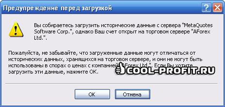 Сообщение при загрузке истории котировок в терминале MetaTrader 4 (для cool-profit.ru)
