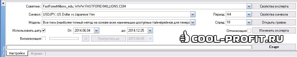 Тестер стратегий в терминале MetaTrader 4 (для cool-profit.ru)