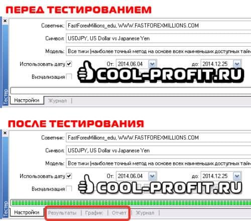 Вкладки тестера стратегий (для cool-profit.ru)