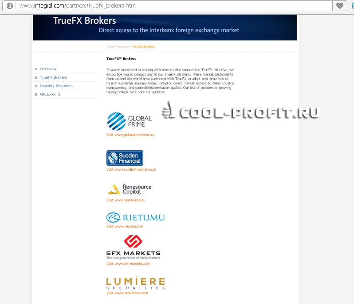 Список партнеров поставщика ликвидности Интеграл (для cool-profit.ru) _