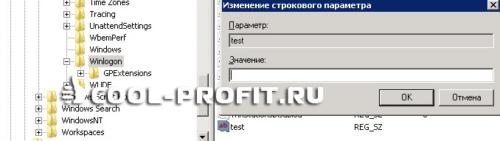 Изменение строкового параметра в реестре  (для cool-profit.ru)