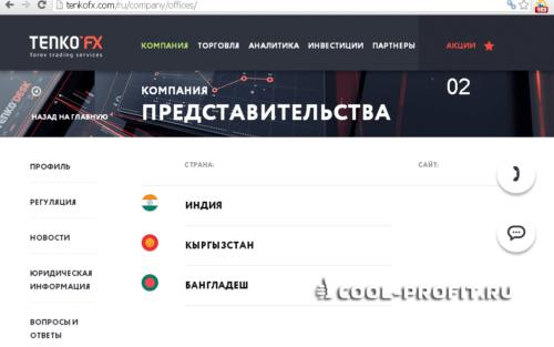 Представительства TenkoFX (для cool-profit.ru)