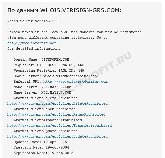 Who Is по домену liteforex.com (для cool-profit.ru)