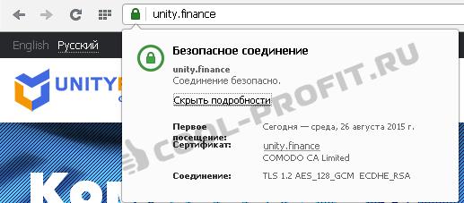 SSL сертификат проекта Unity Finance Group Ltd через Qiwi (для cool-profit.ru)